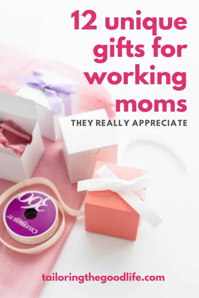 White table with gifts being wrapped, gifts for working moms