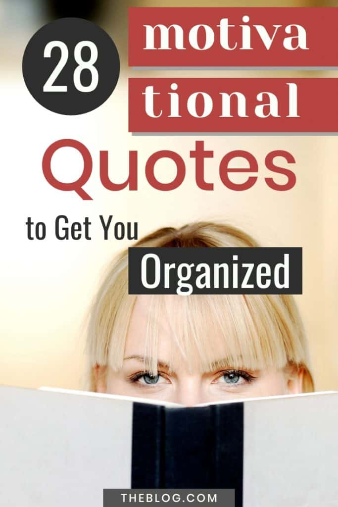 Lady looking over a book. 28 motivational quotes to get you organized