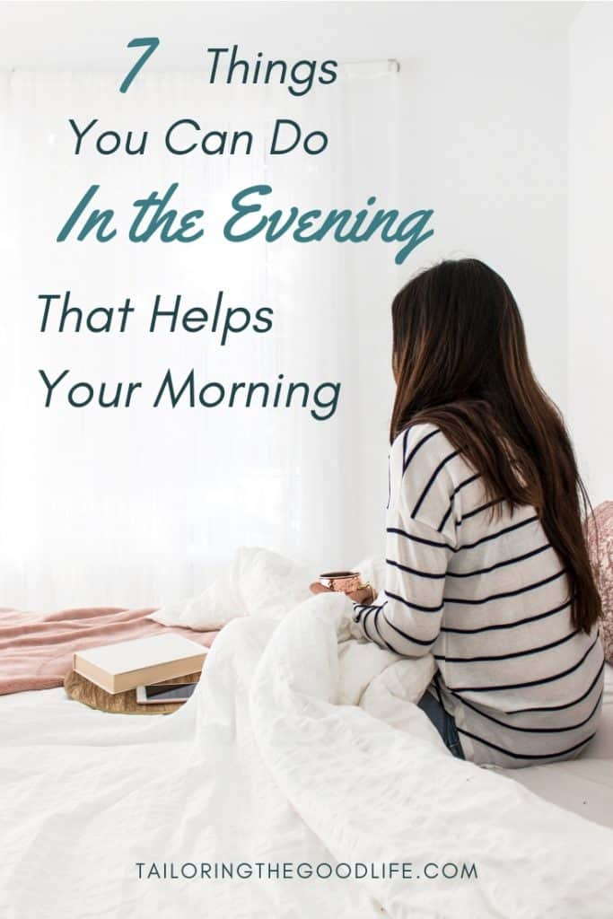 Lady sitting in bed with a cup coffee waking up - 7 Things You Can Do in the Evening that Helps Your Morning
