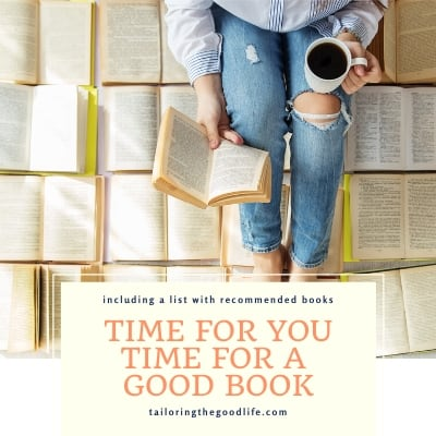 woman sitting on open books, reading, and having a cup of coffee - Time for you, time for a good book - take time to read