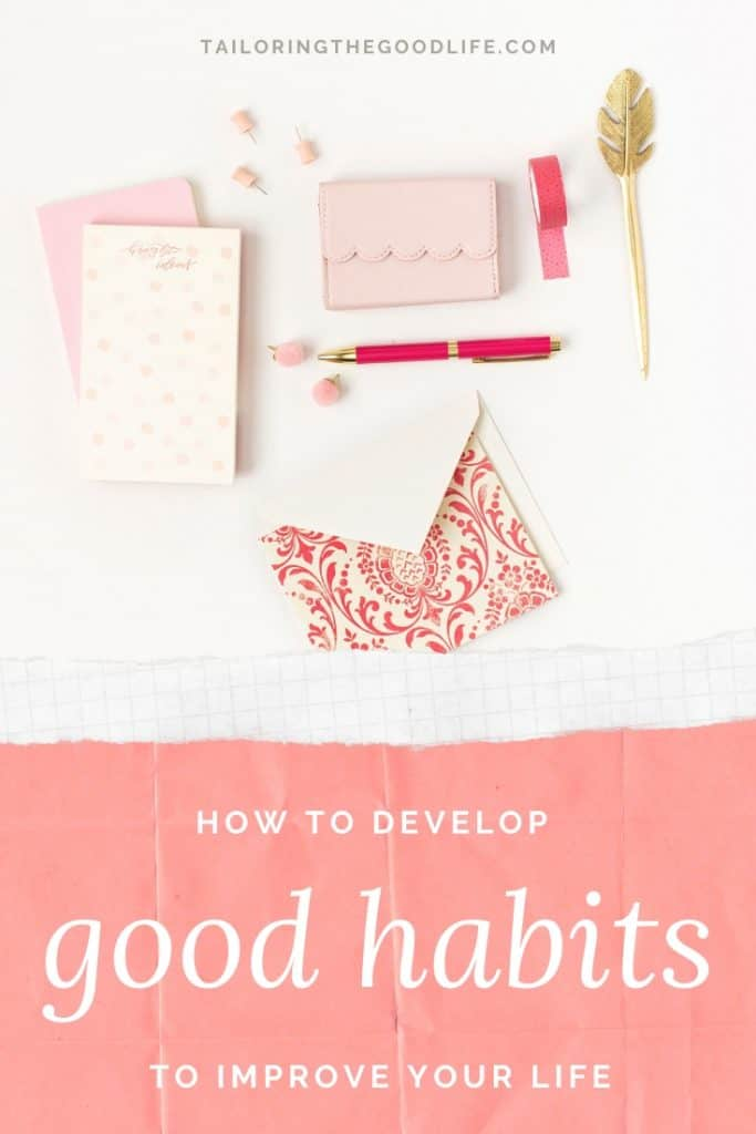 Good Habits - Flatlay with different office supplies in pink