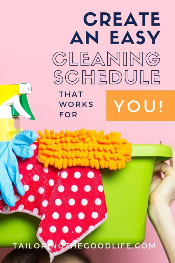cleaning supplies in a bucket - cleaning schedule for working moms
