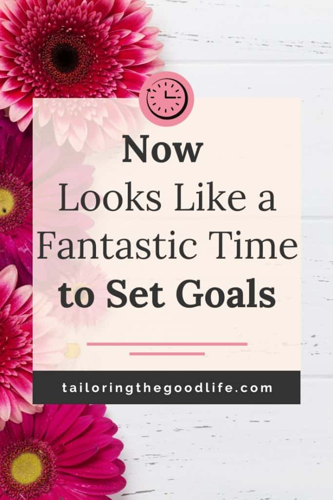 Time to Set Goals - Pink Flowers on a white desk