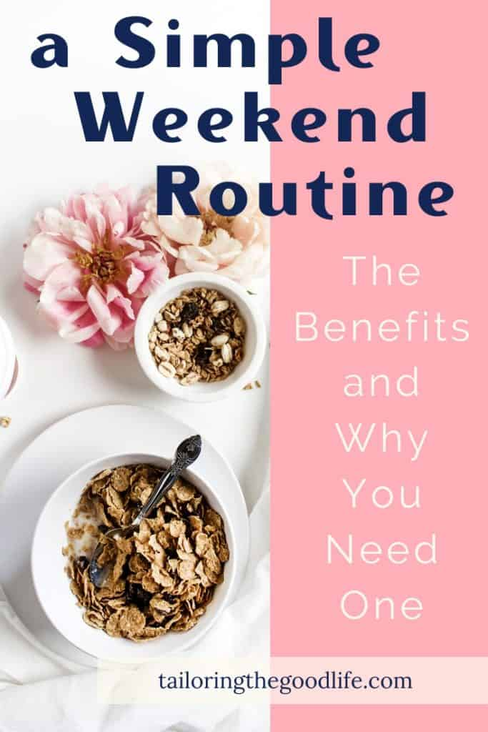 Weekend Routine - Flowers and a bowl of cereal on a white table