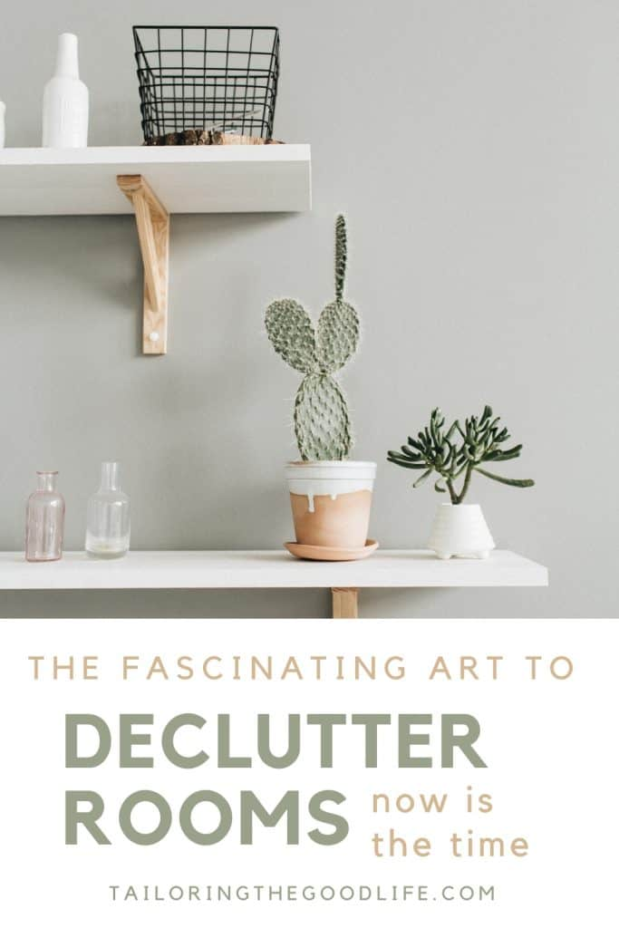 2 white shelves with minimal items - declutter rooms
