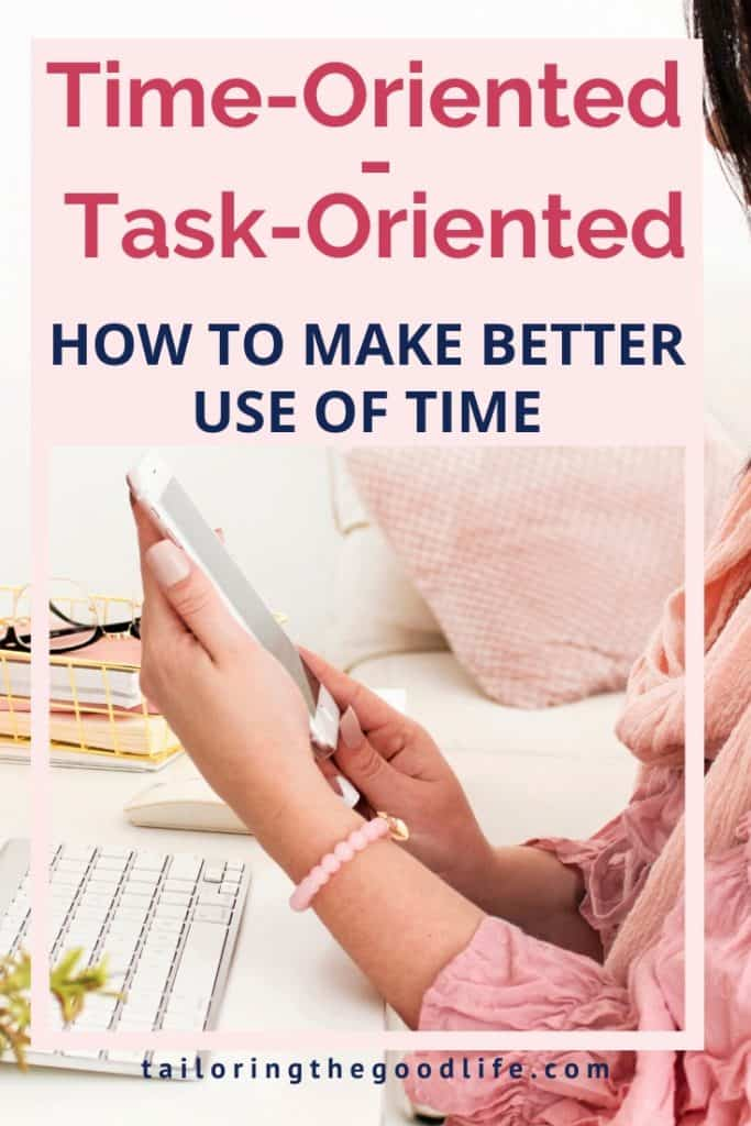 Time-oriented vs Task-oriented - woman looking at her phone while sitting behind her desk in front of the computer